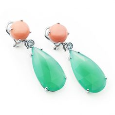 Pendientes de Coral y Agatas Drop Earrings, Jewelry, Fashion, Coral Earrings, White Gold, Jewels, Moda, Fashion Styles, Schmuck