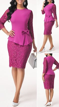 Back Slit Bowknot Embellished Lace Patchwork Dress HOT SALES beautiful dre. - Back Slit Bowknot Embellished Lace Patchwork Dress HOT SALES beautiful dresses, pretty dresses - African Wear Dresses, Latest African Fashion Dresses, Women's Fashion Dresses, Dress Outfits, Fashion Fashion, Elegant Dresses Classy, Classy Dress, Pretty Dresses, Casual Dresses
