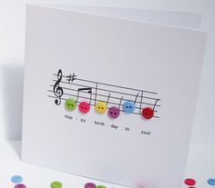 Music Birthday Card. LOVE the colourful buttons ~ SO cute!
