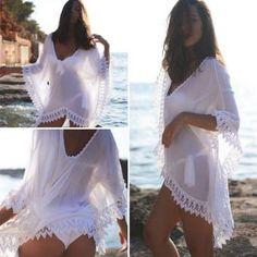 Playa atractiva de las mujeres con cuello en V de encaje flojo traje de baño del bikini de Boho de la cubierta de Vestir