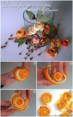 De naranjas a rosas, un centro de mesa muy natural :)