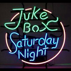 Neonetics Bar and Game Room Juke Box Saturday Night Neon Sign by Neonetics Neon Box, Neon Licht, Custom Neon Signs, Neon Light Signs, Neon Lighting, Saturday Night, Vintage Signs, Vintage Bar, Jukebox