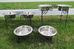 Wrought Iron DOG CAT FEEDER Metal Elevated Pet Food Water Bowl Stand