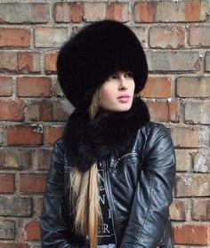 Norwegian black fox fur full hat.S/M or L/XL.Saga furs   eBay