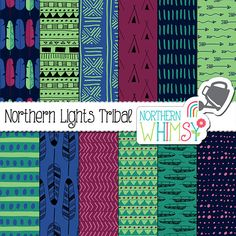 """Boho Digital Paper - """"Northern Lights Tribal"""" - tribal and feather patterns in navy, teal, mint & purple - scrapbook paper - commercial use"""