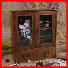 Vintage Timber Wall Shelf Display Cabinet Unit Wooden Retro Desk Storage Rack