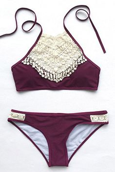 Cupshe Blooming Above Lace Halter Bikini Set