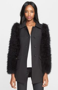 Free shipping and returns on RED Valentino Wool Coat with Maribou Feather Sleeves at Nordstrom.com. Puffy feather-covered sleeves frame this structured wool-twill coat that's equal parts mainstream and over the top.