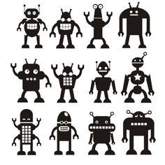 2nd row, 3rd robot - use chalkboard paint?