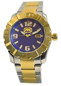 Men's Wrist Watches - Rhino by Marc Ecko Mens Blue Dial Two Tone Stainless Steel Bracelet Watch E8M134MV >>> Want additional info? Click on the image. Wrist Watches, Stainless Steel Bracelet, Bracelet Watch, Bracelets, Blue, Stuff To Buy, Accessories, Image, Bangle Bracelets