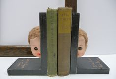 Creepy doll head Bookends Re-purposed salvage Wood Ghostly head OOAK Once Upon a Time