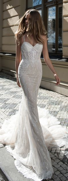 A delicate trumpet wedding gown with a little bling is a sexy choice for a bride. A delicate trumpet wedding gown with a little bling is a sexy choice for a bride looking to show off her figure on her w. 2015 Wedding Dresses, Wedding Attire, Bridal Dresses, Wedding Gowns, Wedding Dresses Fit And Flare, Sheath Wedding Dresses, Modern Wedding Dresses, Wedding Dress For Short Women, Sleek Wedding Dress