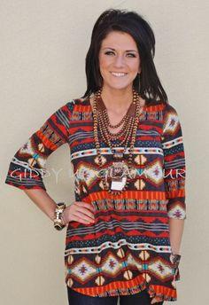 Walk Along Aztec REMIX Tunic  $32.95  Small, Medium, Large  http://www.giddyupglamouronline.com/catalog.php?item=6457