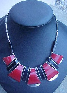 Jakob Bengel Art Deco Bakelite & Chrome Art Deco Necklace 30s