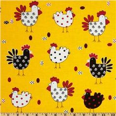 Tossed Roosters Yellow