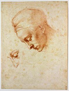 Michelangelo Buonarroti, Estudio para cabeza de Leda, 1529-30. Lápiz rojo sobre papel. 35.5 x 26.9 cm. Casa Buonarroti, Florencia.