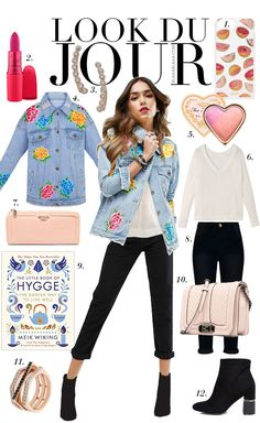 Look Du Jour: Hygge! White sweater+black jeans+black booties+floral denim jacket+ivory chain shoulder bag+earrings+ring. Spring Casual Outfit 2017