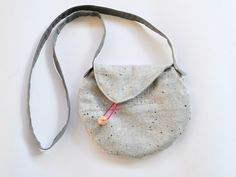 Small crossbody purse- grey shoulder bag- modern geometric circle asymmetric bag