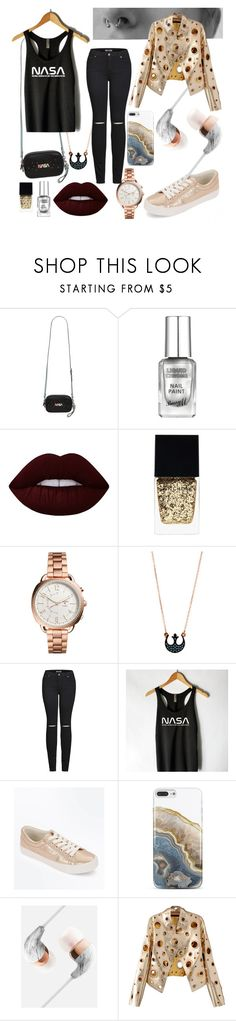 """NASA - black & rose gold"" by valenve018 on Polyvore featuring Coach, Lime Crime, Witchery, FOSSIL, 2LUV, New Look, Nanette Lepore and WithChic"
