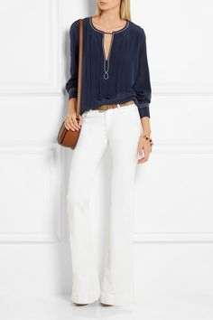 See by Chloé | Pleated silk crepe de chine blouse | NET-A-PORTER.COM