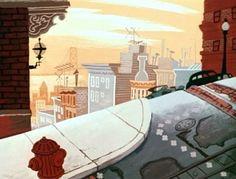 San Fran street scene from 1954 Disney short film, 'Donald's Diary' illustrated by Tom Oreb