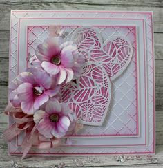 John Next Door: Honesty Heart. Wedding Anniversary Cards, Wedding Cards, Scratch Art, Whimsy Stamps, Christmas Rose, Pink Themes, Heart Crafts, Nature Paintings, Flower Cards