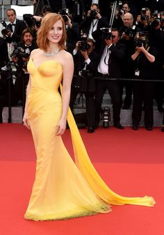 Jessica Chastian in a yellow Armani Prive Couture gown at the 'Cafe Society' premiere and opening-night gala, Day 1 of 2016 Cannes Film Festival.