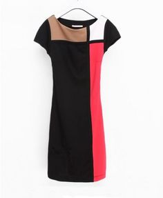 Black Color Block Design and Short Sleeve Fitted Dress