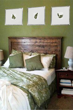 Guest bedroom - in green and dark woods