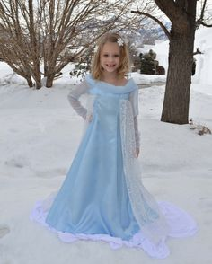 Elsa Costume Dress Frozen Snow Queen