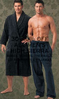 Lee Pappas and Lawrence Sikorski for Mervyn's (2006) #LeePappas #LawrenceSikorski #malemodel #model #StarsModels #StarsModelMgmt #Mervyns #smile #robe #bathrobe