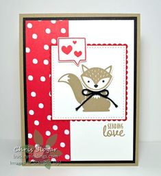 """Our little """"Foxy Friends"""" fox, jabbering in hearts, is perfect for Valentine's Day. I used greetings and stamps fromfrom """"Sealed with Love"""" and a 1 1/2"""" strip of our Valentine's paper to make this a Valentine, but it could be made to suitmany occasions.  Click here to shop now, or use the carousel below to link to my online store. For every $50* increment of product ordered, you can choose from the Sale-a-bration free products, and you will receive a..."""
