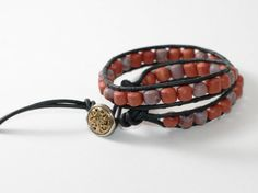 Leather Wrapped Bracelet with Hand Formed by DESIGNBYSTARLA, $30.00
