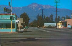Looking north on Archibald Ave from Foothill Blvd (Route FRANK ZAPPA had his recording studio in the gray building on the left side behind the turquoise building in the California History, California Dreamin', Vintage California, West Covina, Huntington Beach, Route 66, Old Photos, Cool Pictures, Rancho Cucamonga California