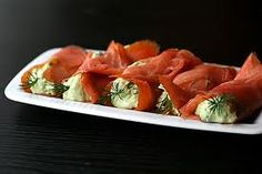 This is a quick and easy dish or appetizer that is flavorful, looks decorative on a plate and is a definite crowd pleaser. Last night I needed a side dish to go with the soup I made for dinner so I thought smoked salmon stuffed with goat chevre and