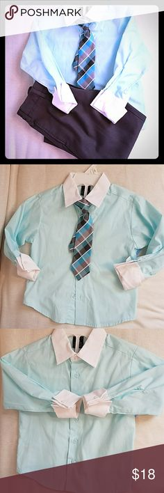 Coordinating set of dress Shirt and Grey pants 4T Coordinating set of dress Shirt and Grey dress pants 4T Sean John Beautiful  botton down shirt Aqua color with  contrast collar and French cuffs.  Rugged Bear  grey  dress pants. Features Button and zipper at front. Elastic waistband on the sides. Two functional pockets in side seams and back  Both  in excellent condition.  Perfect oufit for any formal occasion or photo shoot. No stains, rips or holes.   TIE no included Sean John Matching…
