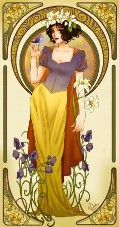 Alphonse Mucha/art nouveau inspired Disney Princess Snow White