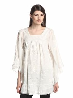 Anna Sui Women's Embroidered Voile Tunic (White)