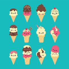 Premium Vector Clipart Kawaii Icecreams por LookLookPrettyPaper