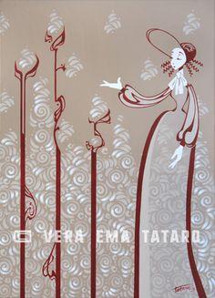 Lady Cotton - acrylic painting on canvas by Vera Ema Tataro