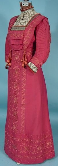 c. 1910 Emma Wagen, Lucerne - Edwardian Embroidered Rose Colored Gown
