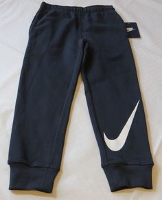 Boy's Nike fleece sweat pants 6 M 5-6 yrs active 863174 Obsidian 695 navy Swoosh #Nike #sweatpants