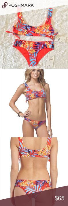 Rip Curl Tropicana Bikini Size S/XS Top-Small Bottom- Xs Tropicana Bikini Top Size Small  Escape to the tropics in a sidetie bikini top that evokes a sunny paradise with lush flowers and palm fronds 84% polyester, 16% spandex Hand wash, line dry Imported Hand Wash Cold Classic Bikini Bottoms Size XS Center-back shirring and a cheeky cut flatter your shape in boldly printed bikini bottoms that instantly transport you to the tropics. Merrow-stitched edges create a comfortable, barely there…
