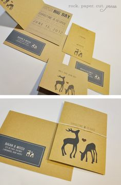 Eco-friendly Deer Themed Invite:  rock. paper. cut. press.   wedding invitations.