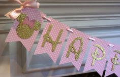 New....Gold and Pink Minnie Happy Birthday by ThePartyPaperFairy