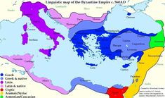 (Map) Linguistic map of the Byzantine Empire. ca 560 CE. European History, World History, Art History, American History, Mystery Of History, Ancient Rome, Ancient Aliens, Ancient Greece, Historical Maps