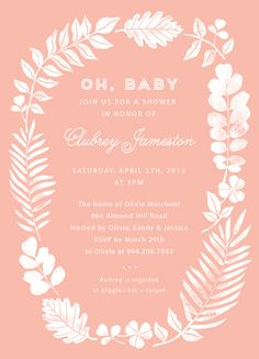 Customizable Baby Shower Invitation Stamped Wreath by WideEyed for MyPublisher's exclusive baby card + stationery collection