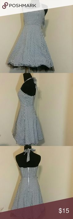 Womens FOREVER Halter Ruffle Dress Sz S FOREVER black and white halter dress. Sz S Half zipper on the back with ties at the neck. Built in black ruffles on the bottom.  Really cute. forever Dresses