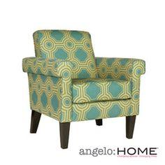 Nice Accent chair! angelo:HOME Ennis Shoreline Tile Aqua Blue Arm Chair