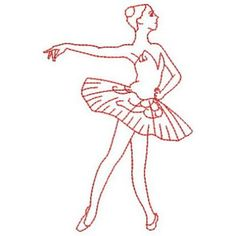 images of ballerina embroidery patterns | Redwork Ballerinas embroidery design